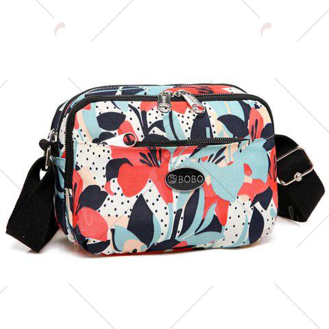 Affordable Printed Multi Zips Crossbody Bag - RED  Mobile