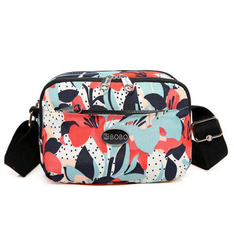 Discount Printed Multi Zips Crossbody Bag - RED  Mobile
