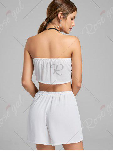 Trendy Strapless Printed Crop Top and Shorts - M WHITE Mobile