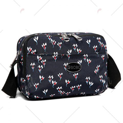 Sale Printed Multi Zips Crossbody Bag - BLACK  Mobile