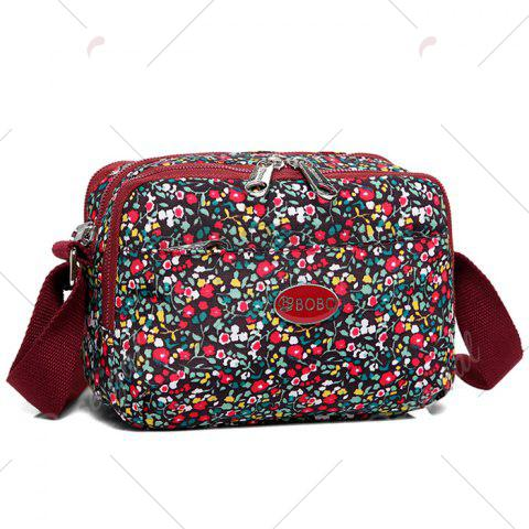 Outfits Printed Multi Zips Crossbody Bag - WINE RED  Mobile