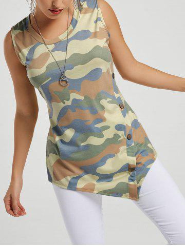 Chic Asymmetric Floral Tunic Tank Top CAMOUFLAGE S