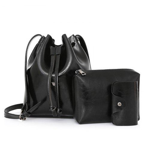 Latest 3 Pieces PU Leather Bucket Bag Set - BLACK  Mobile