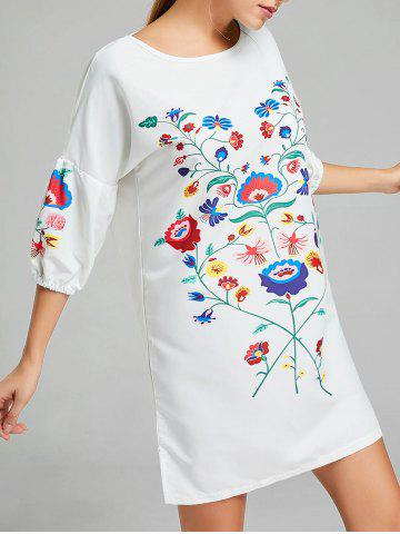 Shop Shift Floral Print Puff Sleeve Dress WHITE L