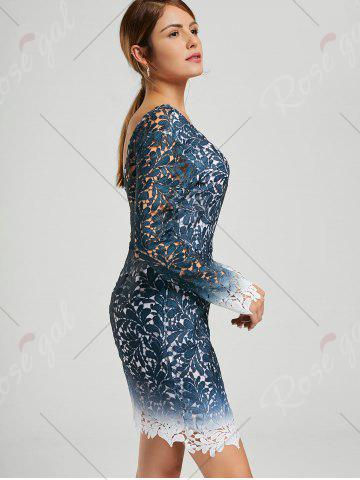Hot Lace Open Back Ombre Party Formal Dress - S BLUE Mobile