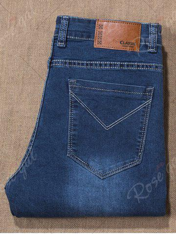Latest Plus Size Zip Fly Cuffed Jeans - 42 DENIM BLUE Mobile