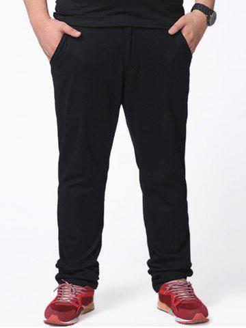 Zipper Fly Plus Size Chino Pants Noir 48
