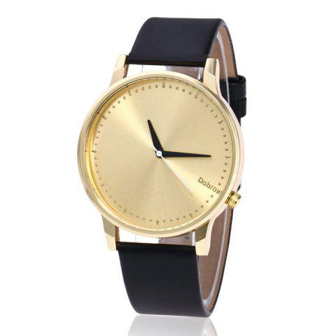 Shop Minimalist Faux Leather Strap Quartz Watch BLACK GOLD