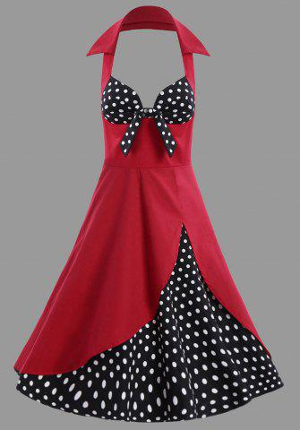 Polka Dot Halter Vintage Plus Size Dress - Red - 4xl