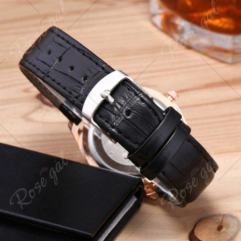 Sale Faux Leather Strap Date Rhinestone Quartz Watch - BLACK  Mobile