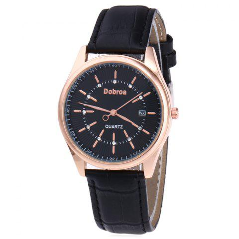 Trendy Faux Leather Strap Date Rhinestone Quartz Watch - BLACK  Mobile