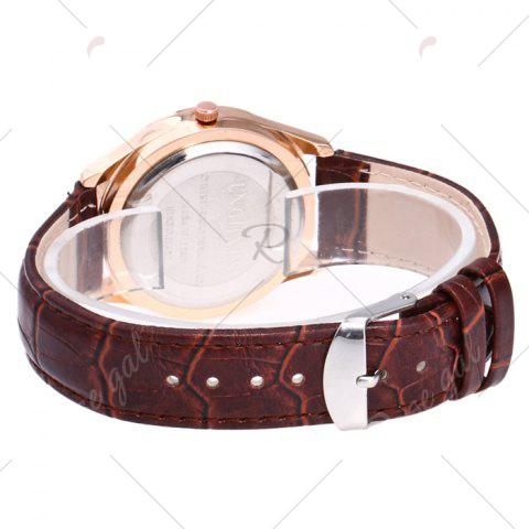 Fancy Faux Leather Strap Date Rhinestone Quartz Watch - BLACK AND BROWN  Mobile
