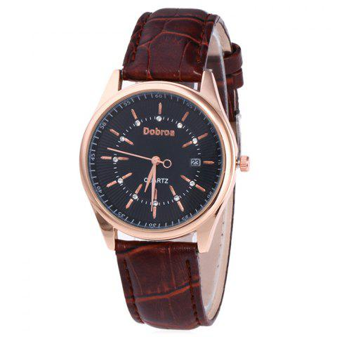 Affordable Faux Leather Strap Date Rhinestone Quartz Watch - BLACK AND BROWN  Mobile