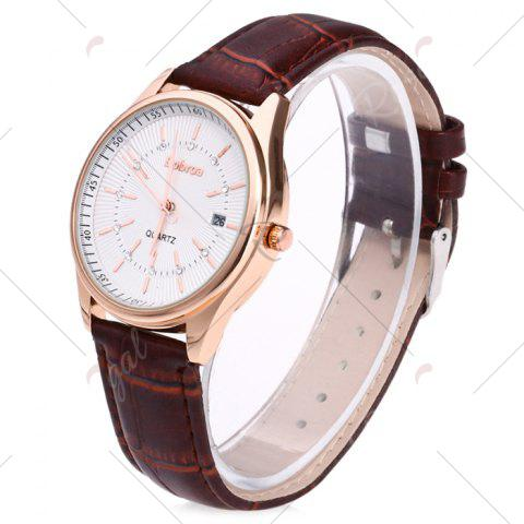 Outfit Faux Leather Strap Date Rhinestone Quartz Watch - BROWN  Mobile