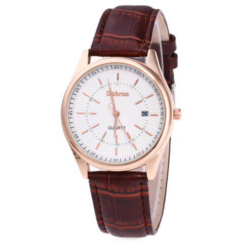 Cheap Faux Leather Strap Date Rhinestone Quartz Watch - BROWN  Mobile