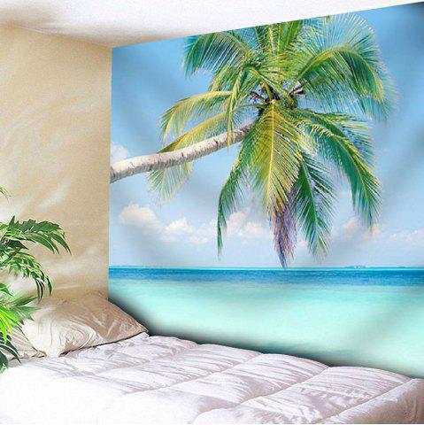 Discount Coconut Palm Print Wall Hanging Microfiber Tapestry - W51 INCH * L59 INCH BLUE Mobile