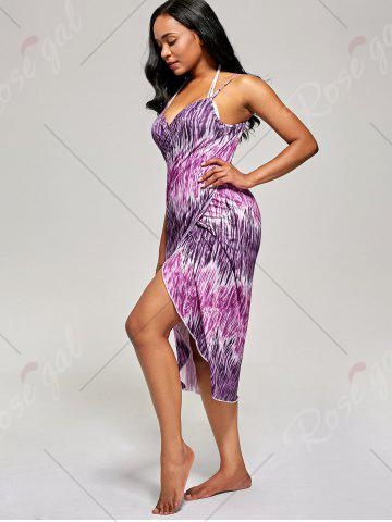 New Printed Wrap Cover Up Dress - ONE SIZE PURPLE Mobile