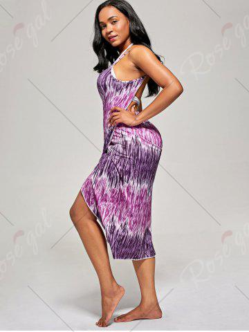 Trendy Printed Wrap Cover Up Dress - ONE SIZE PURPLE Mobile