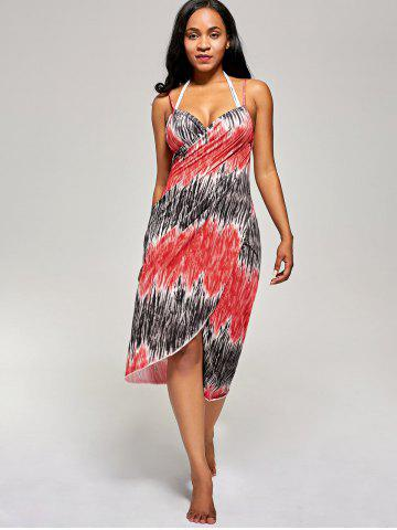 Store Printed Wrap Cover Up Dress - ONE SIZE RED Mobile