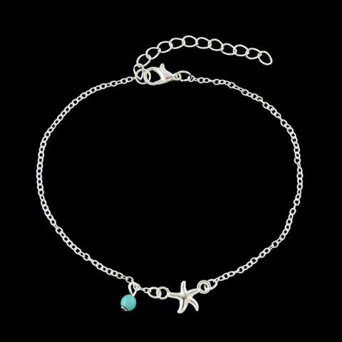 Chandelle Faux Turquoise Starfish Anklet Argent