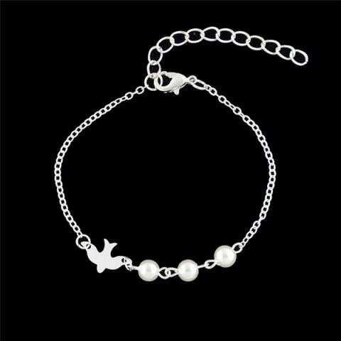 Latest Artificial Pearl Peace Dove Chain Bracelet - SILVER  Mobile