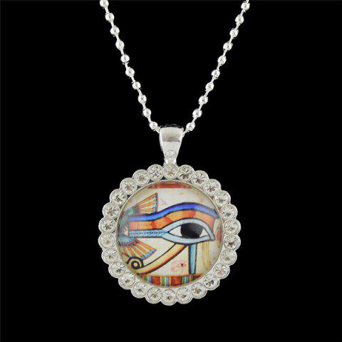 Rhinestoned Eye Round Pendant Necklace - White - 6xl