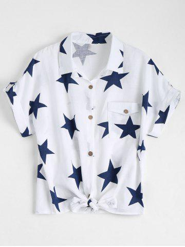 Pocket Star Print Front Tie Shirt Blanc M