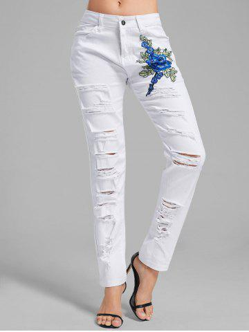 Best Floral Embroidered Applique Ripped Denim Pants WHITE M