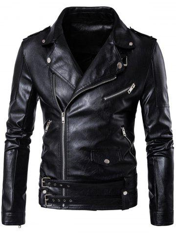 Fancy Belted Asymmetrical Zip Up Biker Jacket