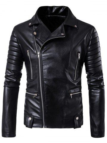 Shops Multi Pockets Asymmetrical Zip Up Biker Jacket