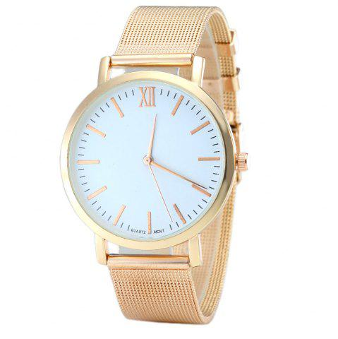 Minimalist Alloy Mesh Band Quartz Watch - Rose Gold - 40