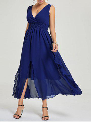 Empire Waist Chiffon Dress Bleu Foncu00e9 XL