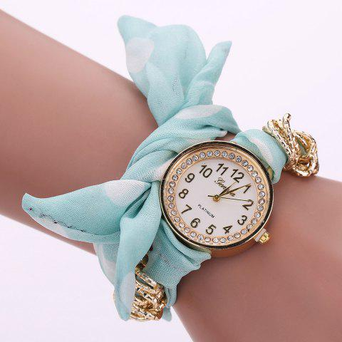 Rhinestone Number Polka Dot Fabric Bracelet Watch - Light Green