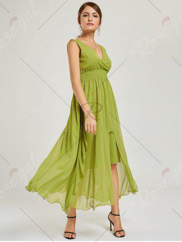 Discount Empire Waist Chiffon Dress - XL GREEN Mobile