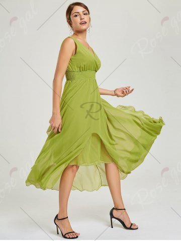 Online Empire Waist Chiffon Dress - XL GREEN Mobile