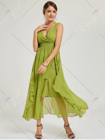 Sale Empire Waist Chiffon Dress - XL GREEN Mobile