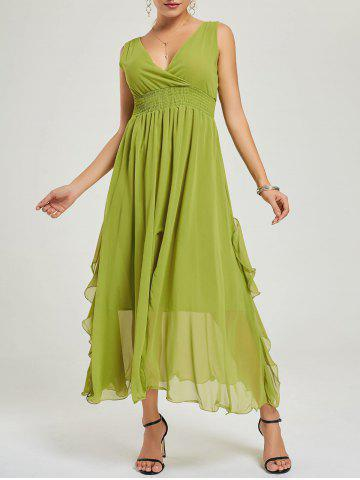 Empire Waist Chiffon Dress Vert M
