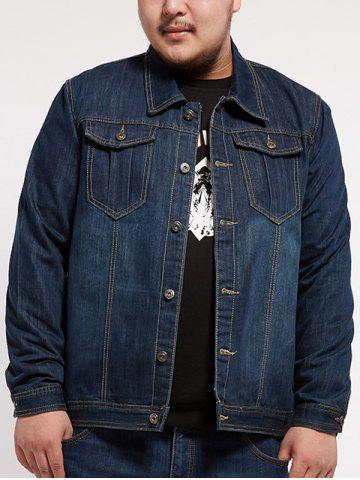 Hot Turndown Collar Multi Pocket Plus Size Denim Jacket
