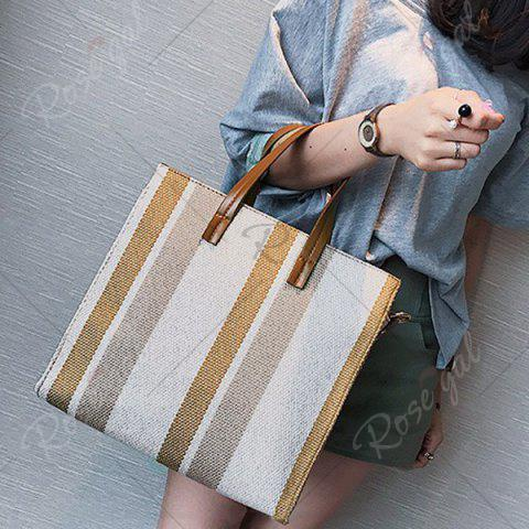 New Stripe Canvas Tote Bag - BROWN  Mobile
