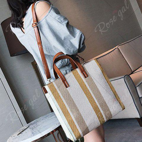Hot Stripe Canvas Tote Bag - BROWN  Mobile