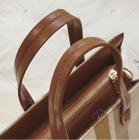 Online Stripe Canvas Tote Bag - BROWN  Mobile