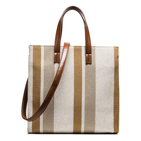 Outfits Stripe Canvas Tote Bag - BROWN  Mobile