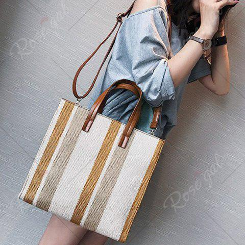 Buy Stripe Canvas Tote Bag - BROWN  Mobile