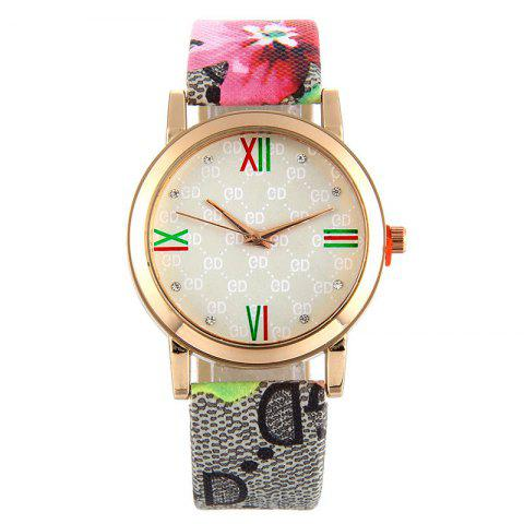 Flower Print Faux Leather Strap Analog Watch - Red