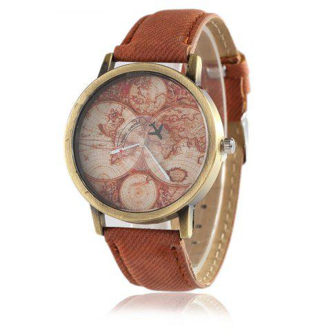 World Map Airplane Faux Leather Strap Watch - Brown
