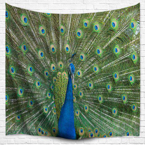 New Peacock Wall Hanging Throw Bedspread Blanket Tapestry - W51 INCH * L59 INCH MALACHITE GREEN Mobile
