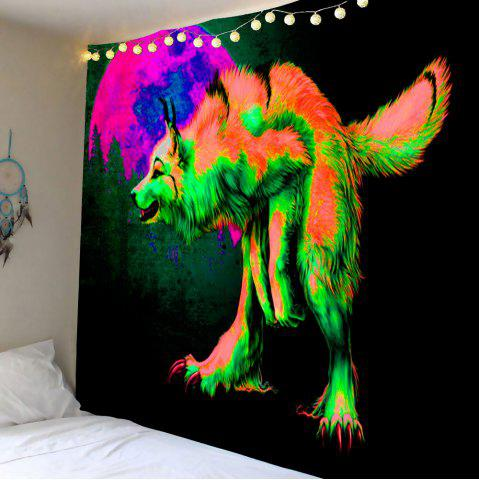 Décoration intérieure Wolf Moon Forest Print Wall Hanging Tapestry