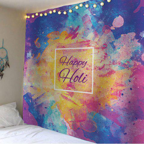 Shop Home Decor Happy Holi Watercolor Waterproof Wall Tapestry - W59 INCH * L51 INCH COLORFUL Mobile
