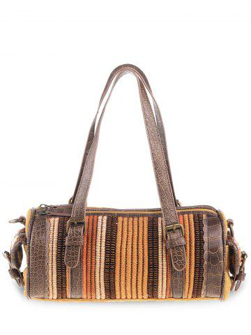New Ethnic Canvas Cylinder Shaped Tote Bag GINGER