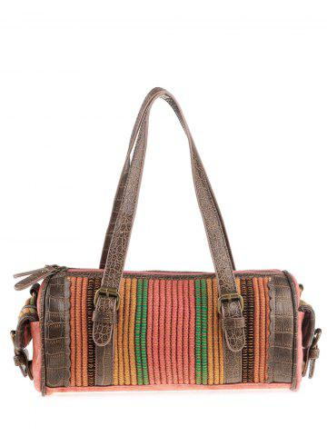 Store Ethnic Canvas Cylinder Shaped Tote Bag WATERMELON RED